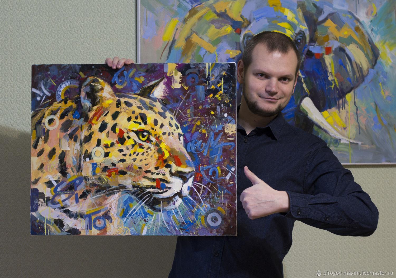 Картина маслом леопард. Картина. Купить картину маслом. Картины, Картины, Самара,  Фото №1