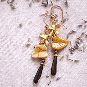 """Украшения ручной работы. Ярмарка Мастеров - ручная работа """"Золотые цветы"""" серьги. Handmade."""
