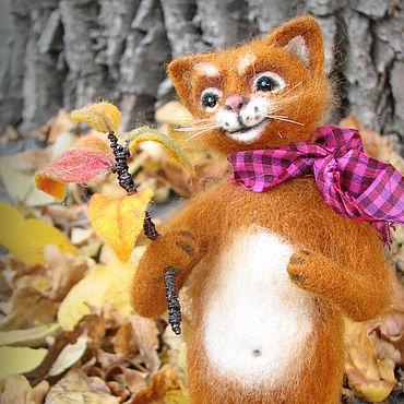 Куклы и игрушки ручной работы. Ярмарка Мастеров - ручная работа Рыжий котик из шерсти.. Handmade.