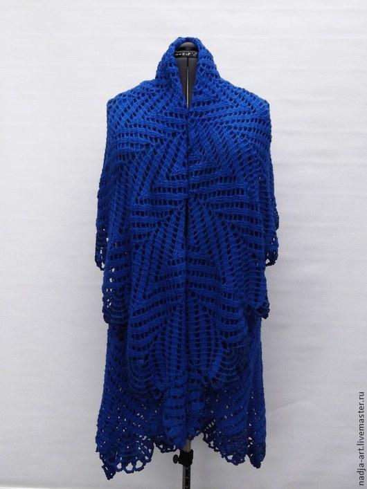 Верхняя одежда ручной работы. Ярмарка Мастеров - ручная работа. Купить Пальто  Королевская Синяя птица Вязаное Крючком. Handmade.