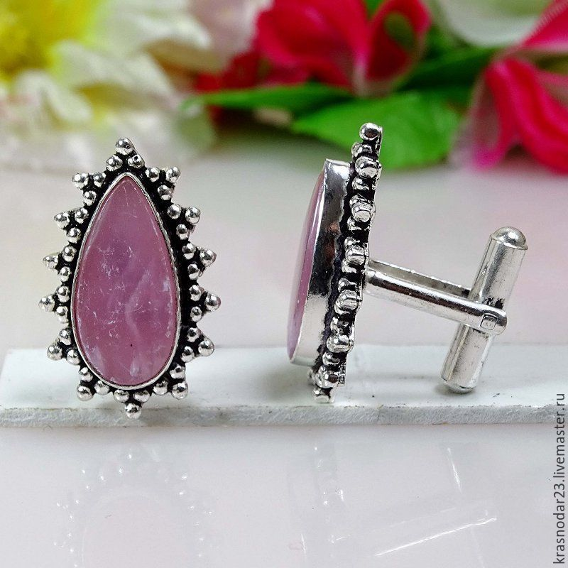 Cufflinks sterling SILVER 925 vintage style with elements of blackening with natural rose quartz