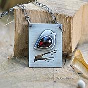 Украшения handmade. Livemaster - original item Pendant silver pendant Bird on a branch, garnet. Handmade.