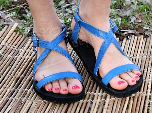 Обувь ручной работы. Ярмарка Мастеров - ручная работа. Купить Босоножки из кожи  Без перепонки Синие. Handmade. Синий