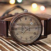 Украшения handmade. Livemaster - original item Wooden clock, mens wrist watches, walnut, 06rd4035ww2. Handmade.