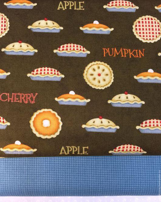 """Шитье ручной работы. Ярмарка Мастеров - ручная работа. Купить Ткань """"Осенние пироги"""". Handmade. Коричневый, пироги, ткань для пэчворка"""