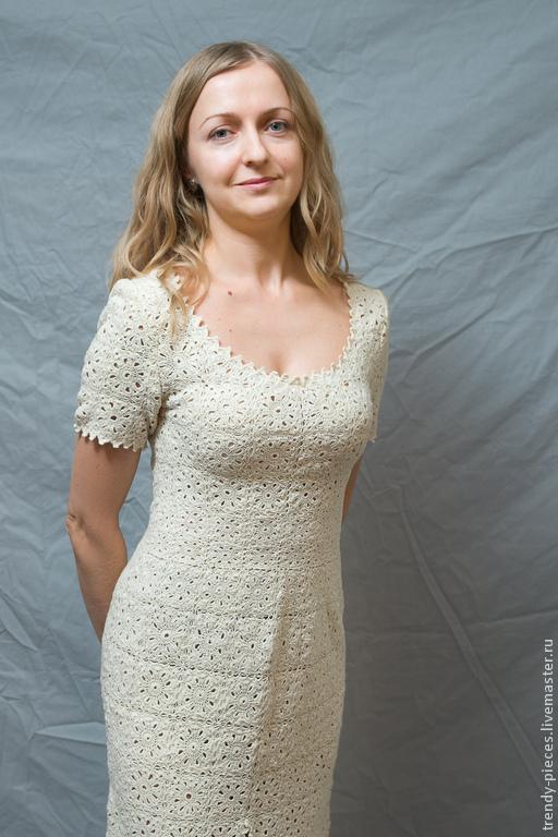 Платья ручной работы. Ярмарка Мастеров - ручная работа. Купить Платье вязаное. Handmade. Белый, платье вязаное, платье повседневное