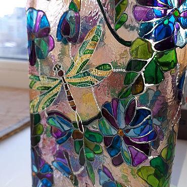 Посуда ручной работы. Ярмарка Мастеров - ручная работа Бутылка фляжка витражная стеклянная Стрекоза. Handmade.