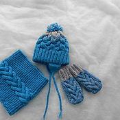 Работы для детей, ручной работы. Ярмарка Мастеров - ручная работа Вязанный зимний комплект шапка+снуд+варежки для мальчика. Handmade.