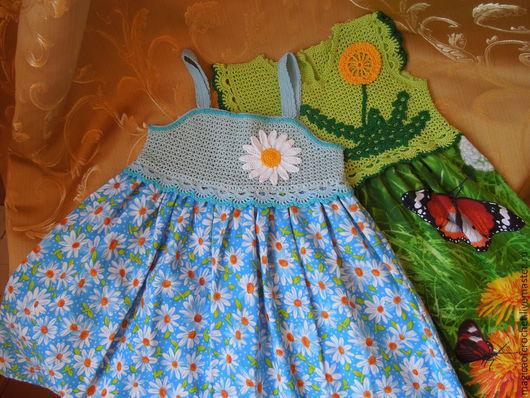 Одежда для девочек, ручной работы. Ярмарка Мастеров - ручная работа. Купить Сарафаны и платья, комбинированные с тканью. Handmade. Комбинированное платье