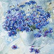 Картины и панно handmade. Livemaster - original item Painting watercolor Bouquet of wild cornflowers. Handmade.