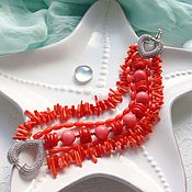 """Украшения ручной работы. Ярмарка Мастеров - ручная работа Браслет коралловый """"Розовый Фламинго"""". Handmade."""