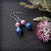 handmade. Livemaster - original item Earrings with natural sodalite and rhodonite.. Handmade.