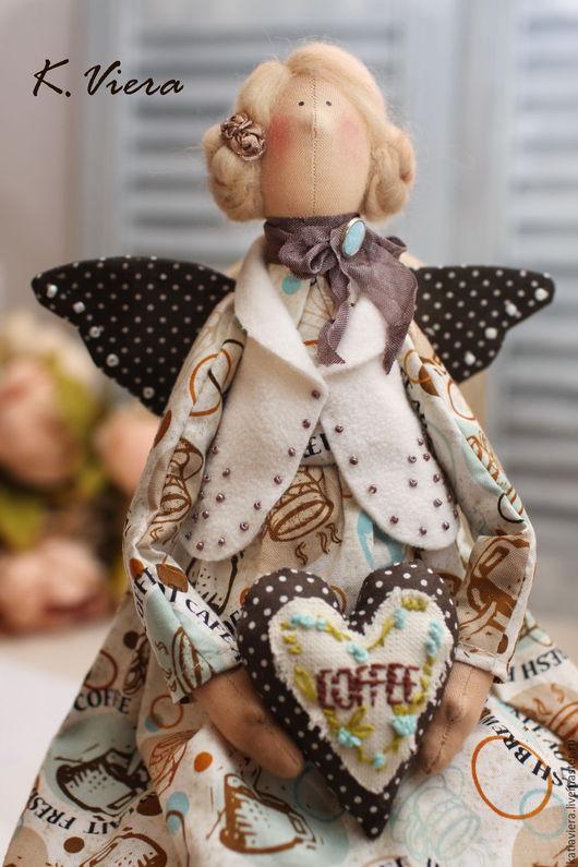 Куклы Тильда ручной работы, Тильда, Тильда ангел, Кофейный ангел, Кофейная  фея, кофеечка, K.Viera, Ярмарка Мастеров