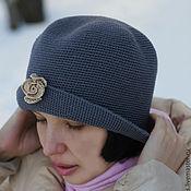 Аксессуары ручной работы. Ярмарка Мастеров - ручная работа Cерая элегантная женскаяшляпка с полями Маленькая роза. Handmade.