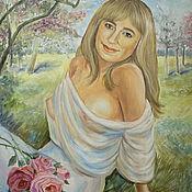 """Картины и панно ручной работы. Ярмарка Мастеров - ручная работа Портрет """"Молодая женщина в саду"""". Handmade."""