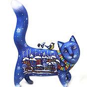 Статуэтка ручной работы. Ярмарка Мастеров - ручная работа Статуэтка: Кот зимний. Авторская игрушка. Дерево. Handmade.