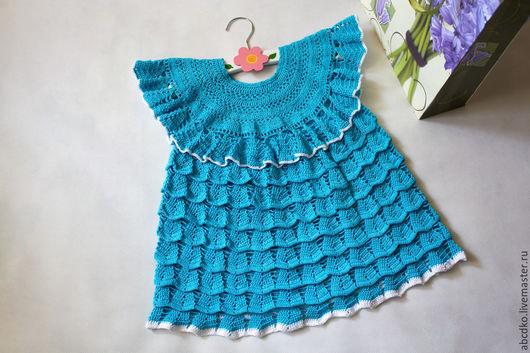 Одежда для девочек, ручной работы. Ярмарка Мастеров - ручная работа. Купить Платье для девочки из хлопка. Handmade. Бирюзовый, вязаная одежда