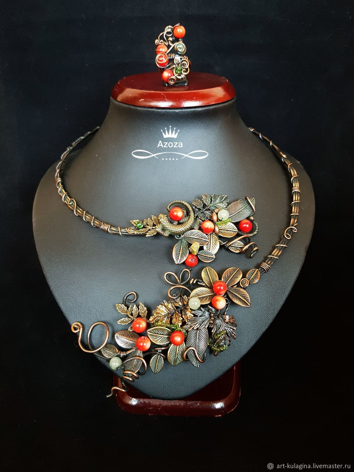 Necklace 'Brusnichka', Necklace, Moscow,  Фото №1
