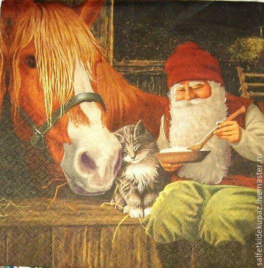 Декупаж и роспись ручной работы. Ярмарка Мастеров - ручная работа. Купить Гном с котенком и лошадью. Салфетка. Handmade. Разноцветный