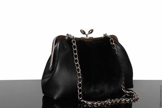 Женские сумки ручной работы. Ярмарка Мастеров - ручная работа. Купить Черная кожаная сумочка, меховая сумка, норка, черная сумка, черный. Handmade.