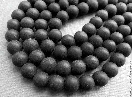 Полунить. Шунгит черный матовый бусины шар 9.5 мм.