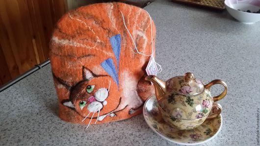 """Кухня ручной работы. Ярмарка Мастеров - ручная работа. Купить Валяная грелочка на чайник """"Котик Рыжик"""". Handmade. Рыжий"""