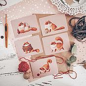 """Открытки ручной работы. Ярмарка Мастеров - ручная работа Мини-открытки """"котя"""" (набор из 5 шт). Handmade."""