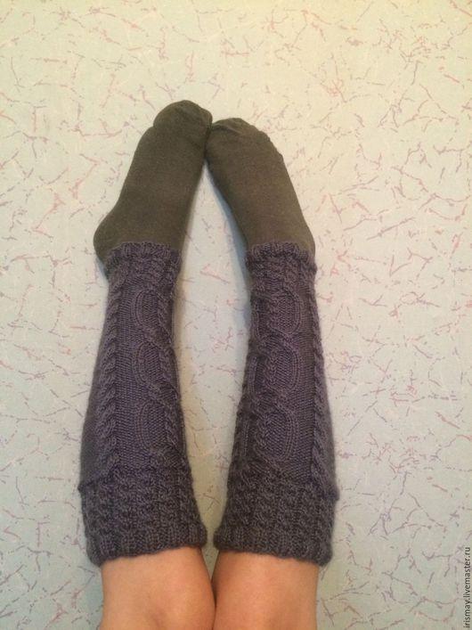 Носки, Чулки ручной работы. Ярмарка Мастеров - ручная работа. Купить Гетры теплые. Handmade. Серый, гетры теплые, шерсть
