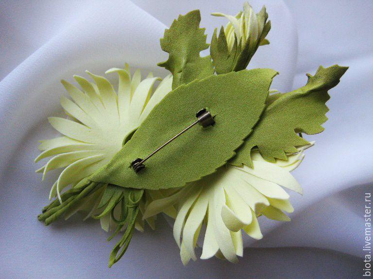 Купить Черная хризантема брошь, заколка из фоамирана