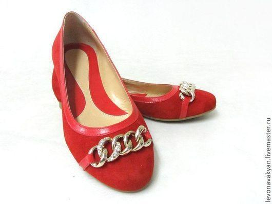 Обувь ручной работы. Ярмарка Мастеров - ручная работа. Купить Балетки. Handmade. Ярко-красный, велюр