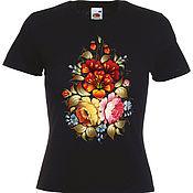 Одежда handmade. Livemaster - original item T-shirt  hand painted Flowers, Hohloma. Handmade.