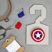 Украшения handmade. Livemaster - original item Embroidered brooch Captain America. Handmade.