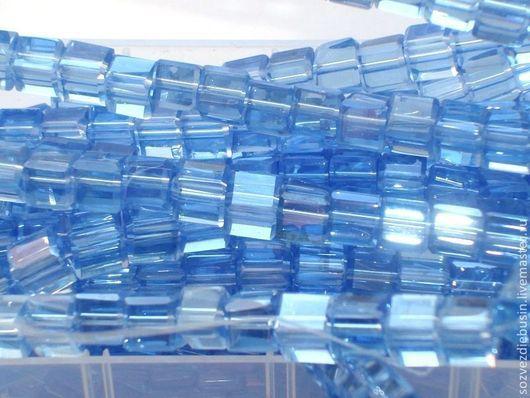 Для украшений ручной работы. Ярмарка Мастеров - ручная работа. Купить Кубики из стекла, цвет голубой с перламутром, размер 6х6мм. Handmade.
