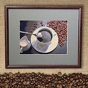 Картины и панно handmade. Livemaster - original item Cross stitch Coffee with cream. Handmade.
