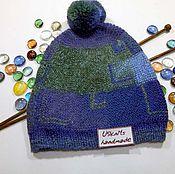 Аксессуары ручной работы. Ярмарка Мастеров - ручная работа Вязаная  шапка, шапочка-пэчворк синяя, голубая, зеленая с помпоном. Handmade.
