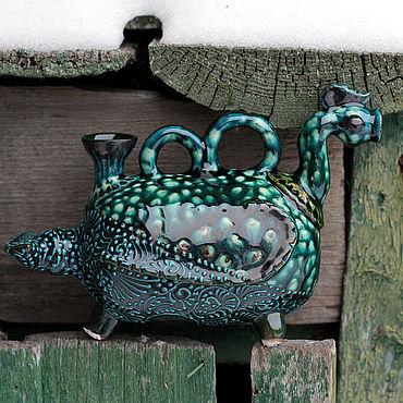 """Посуда ручной работы. Ярмарка Мастеров - ручная работа Сосуд керамический """"Урдак с двойной ручкой"""". Handmade."""