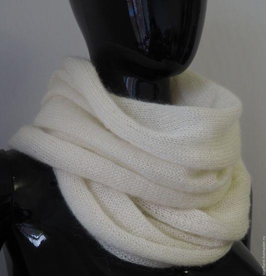 Шарфы и шарфики ручной работы. Ярмарка Мастеров - ручная работа. Купить Снуд из кид-мохера на шелке. Handmade. Шарф ажурный