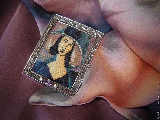 Броши ручной работы. Ярмарка Мастеров - ручная работа. Купить портрет. Handmade. Вышитые украшения, брошь, вышитая брошь, модильяни