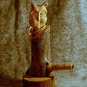 """Для дома и интерьера ручной работы. Ярмарка Мастеров - ручная работа """"Лунный кот"""" (статуэтка из дерева). Handmade."""