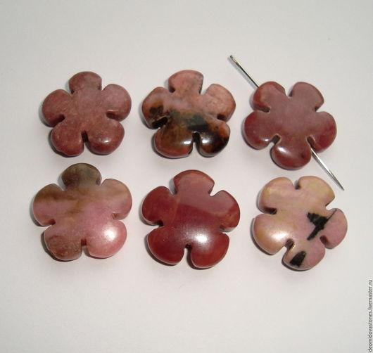 Для украшений ручной работы. Ярмарка Мастеров - ручная работа. Купить Родонит бусины-цветочки для украшений темно-розовые, 20х6 мм.. Handmade.