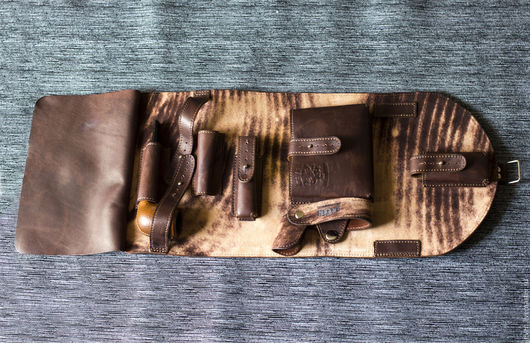 Мужские сумки ручной работы. Ярмарка Мастеров - ручная работа. Купить Кожаный кисет, сумка для трубки и аксессуаров. Handmade. Коричневый