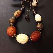 """Украшения ручной работы. Ярмарка Мастеров - ручная работа Бусы """"Кешью"""" с орехами и деревом. Handmade."""