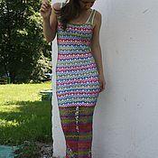 Одежда ручной работы. Ярмарка Мастеров - ручная работа Платье разноцветное ажурное вязаное крючком. Handmade.