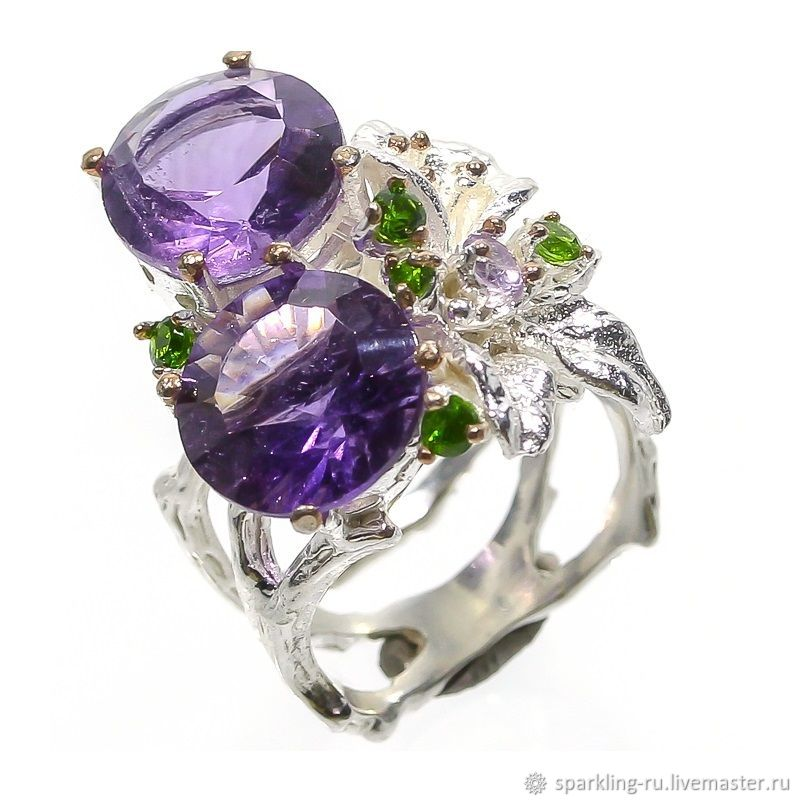 Large silver ring with amethyst Flower, p. .17, Rings, Moscow,  Фото №1