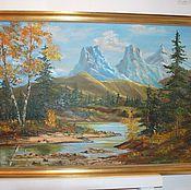 Антикварная картина горный пейзаж