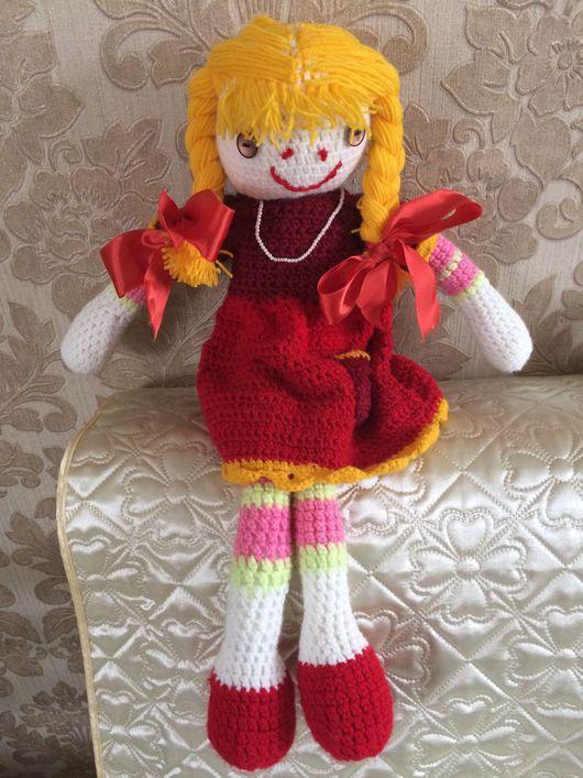 """Человечки ручной работы. Ярмарка Мастеров - ручная работа. Купить Кукла вязаная """"Маруся"""". Handmade. Ярко-красный"""