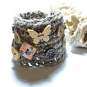 Украшения ручной работы. Ярмарка Мастеров - ручная работа Браслет бохо вязаный с деревянными бусинами. Handmade.