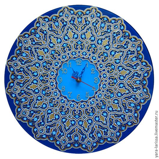 Часы настенные интерьерные `Арабески`. Часы настенные интерьерные на стекле . Часы настенные в технике точечной росписи.