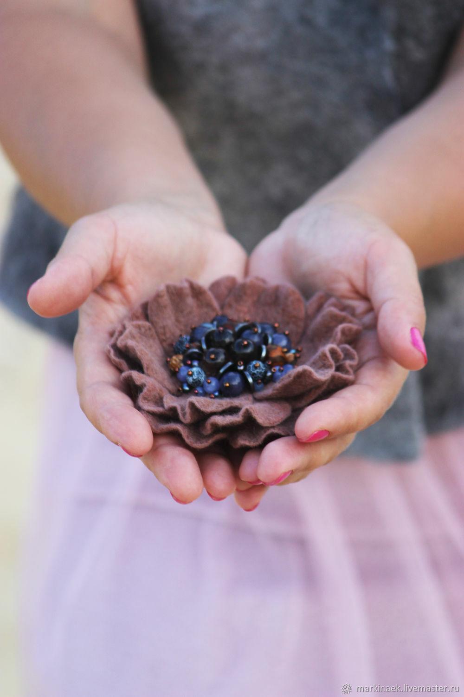 Felted flower brooch ' Chocolate dessert', Brooches, Kamensk-Shahtinskij,  Фото №1