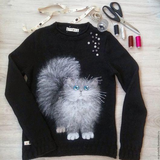 Кофты и свитера ручной работы. Ярмарка Мастеров - ручная работа. Купить Свитер вязаный Cat  (9). Handmade. Болотный, котик